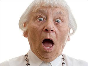 Bange oude vrouw