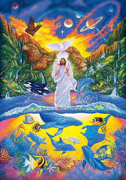 christelijke kunst over Jezus als schepper