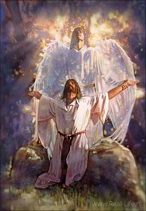 Een engel troost Jezus in de hof van Gethsemane