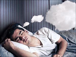 Man slaapt en droomt
