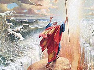 Mozes en de gespleten zee